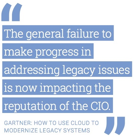 """The general failure to make progress in addressing legacy issues is now impacting the reputation of the CIO."" Gartner: How to Use Cloud to Modernize Legacy Systems"