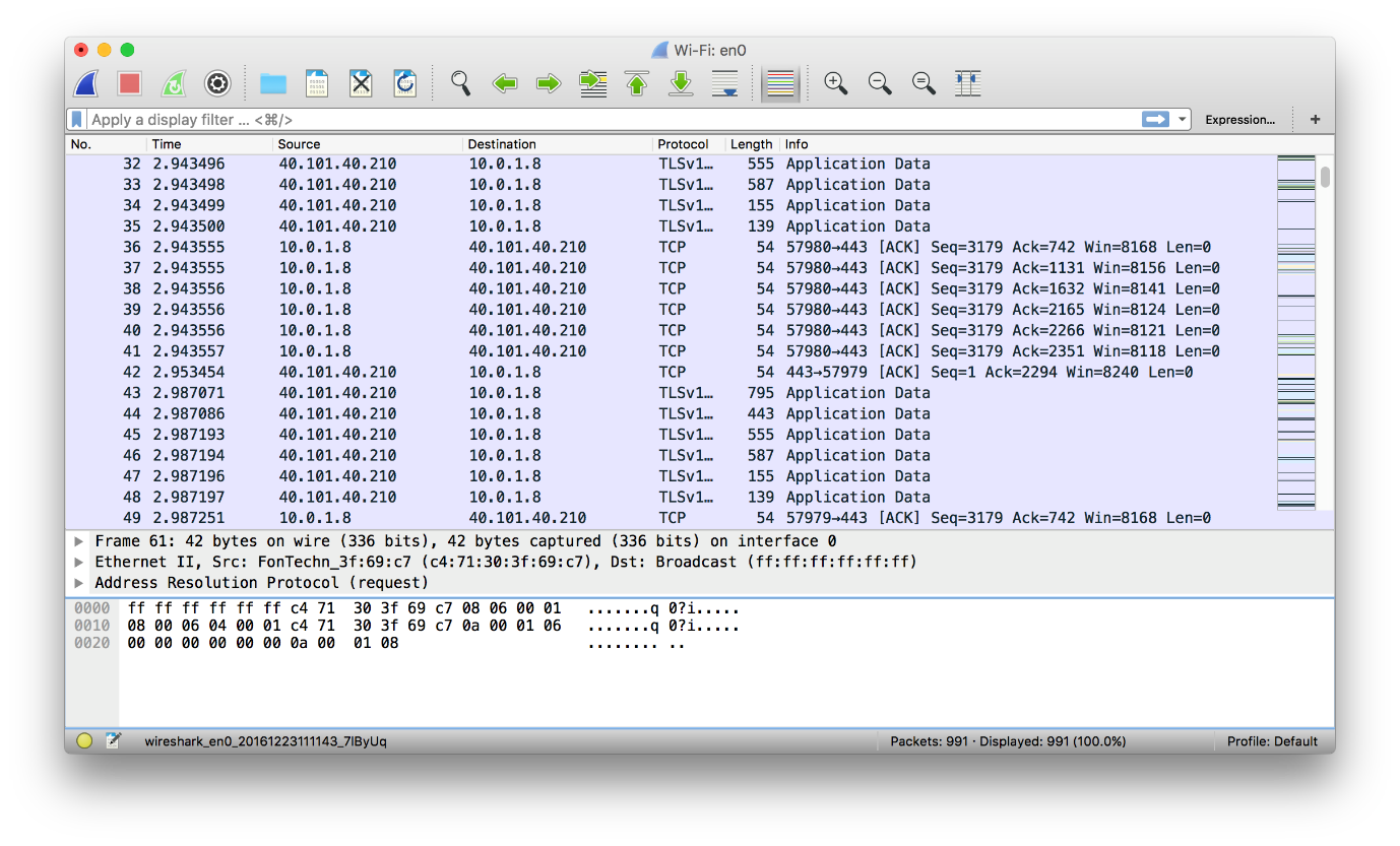 Wireshark capturing wireless traffic