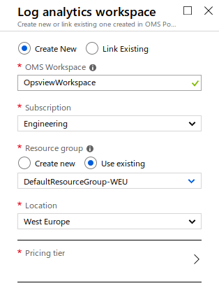Azure Log Analytics Create Workspace