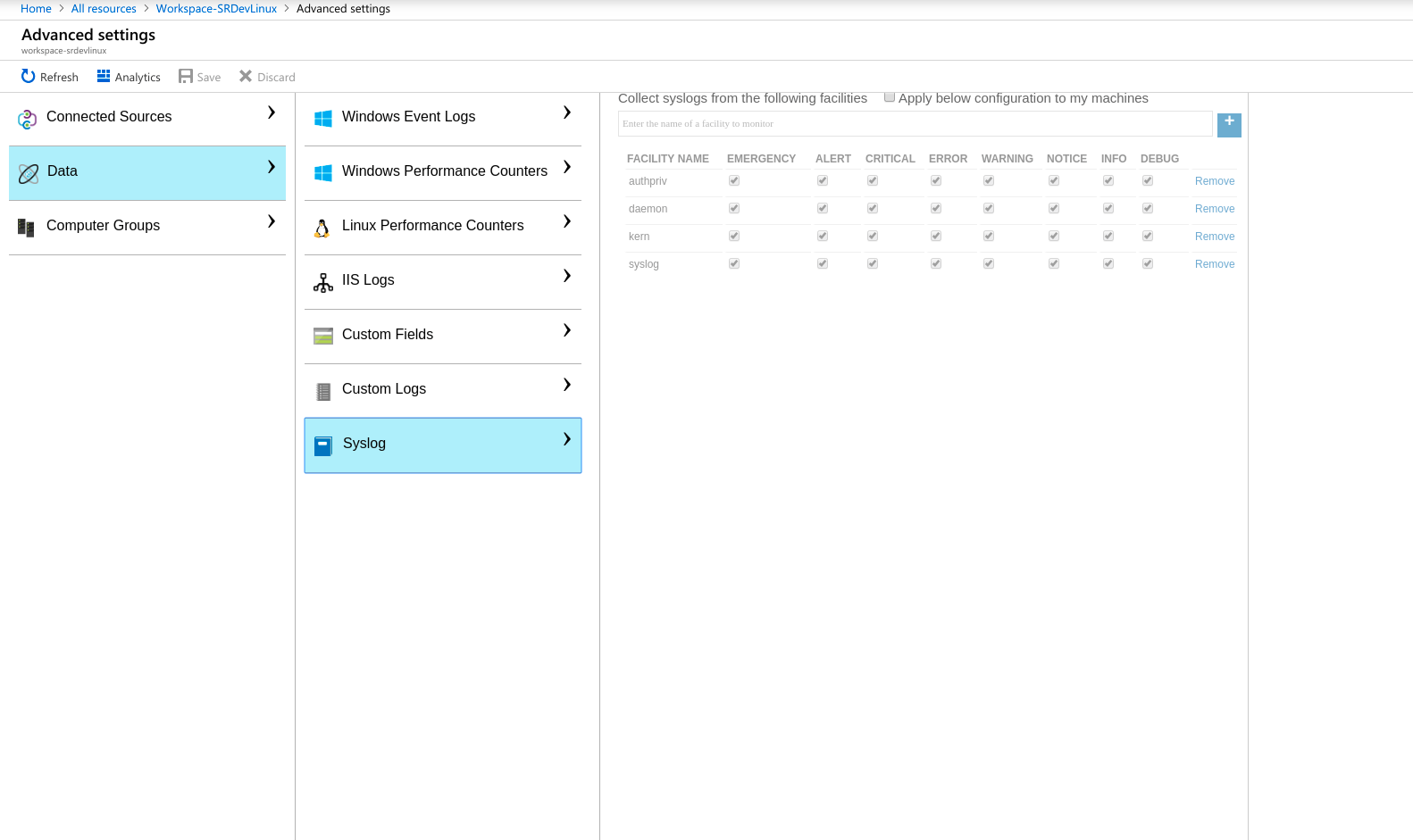 Azure Log Analytics Linux Sources