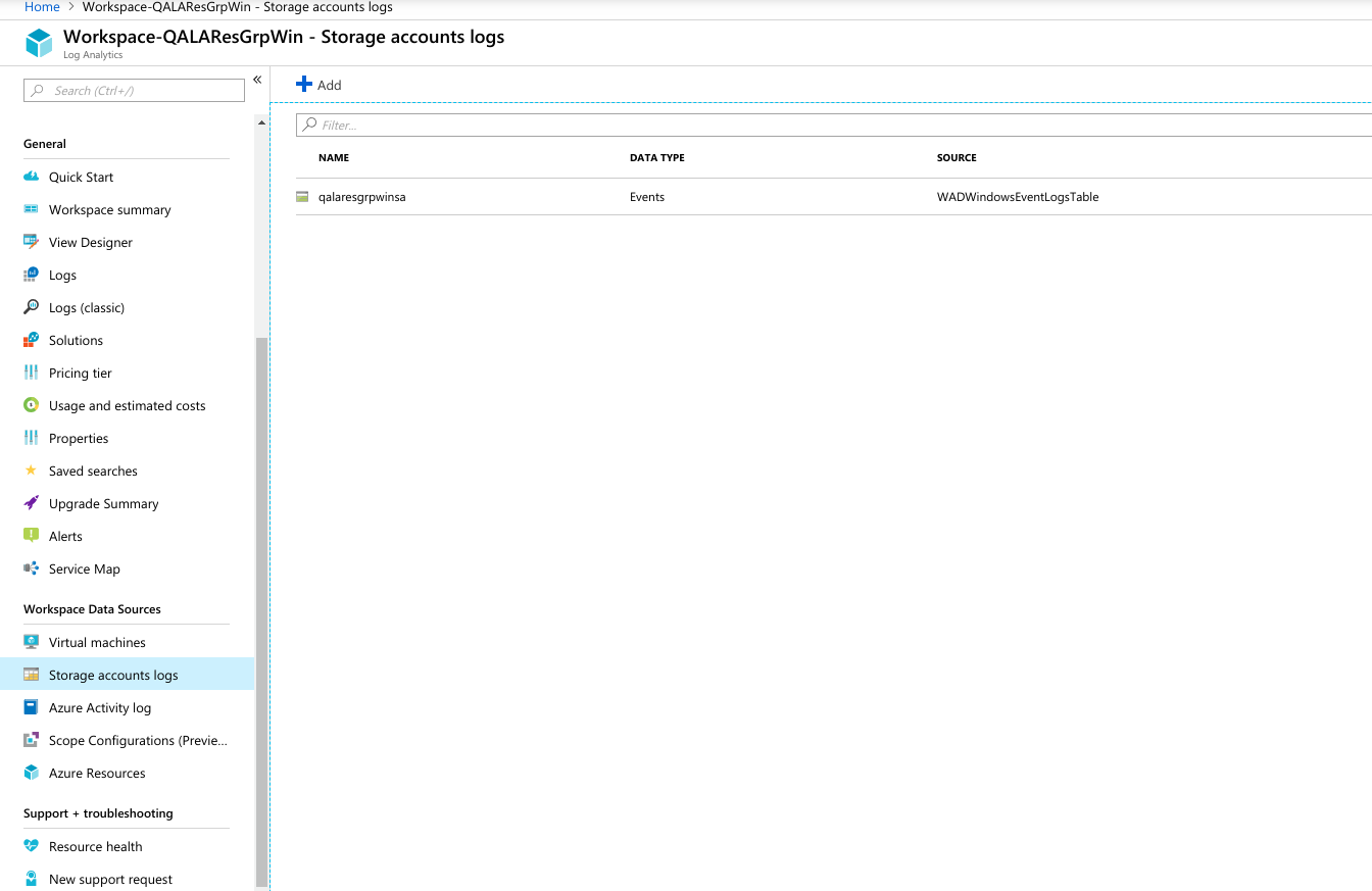 Azure Log Analytics Storage Account Logs