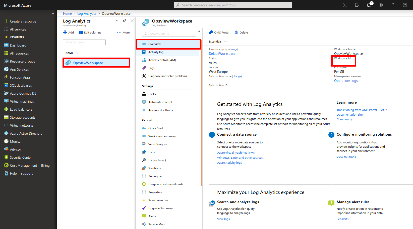 Azure Log Analytics Workspace ID