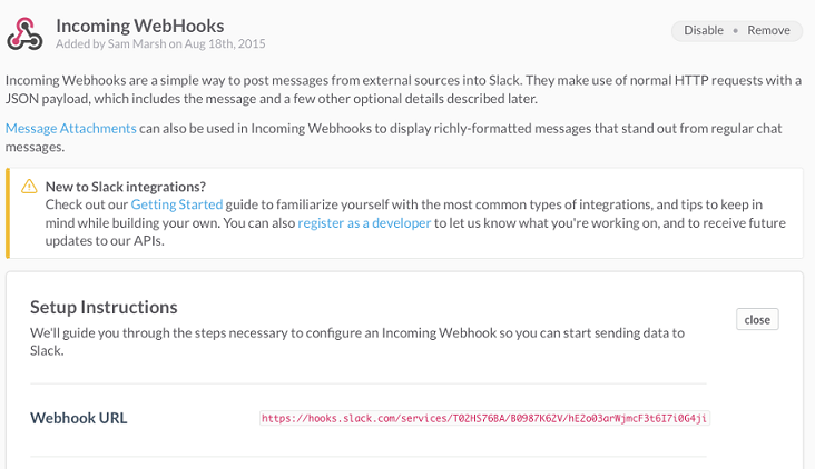 Webhook has been created