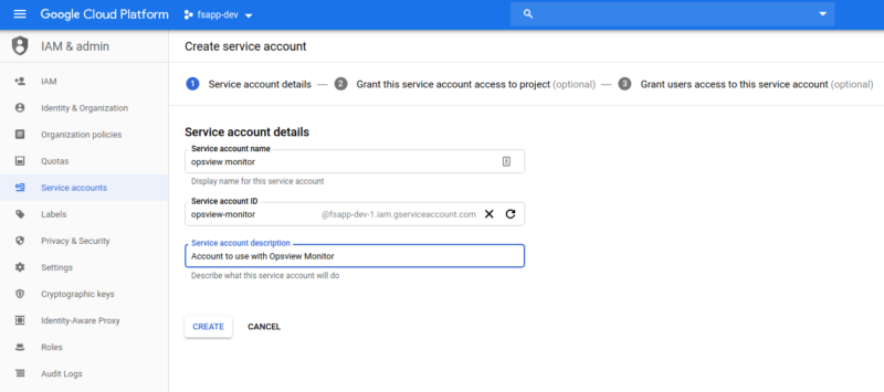 GCP Create Service Account Step 1