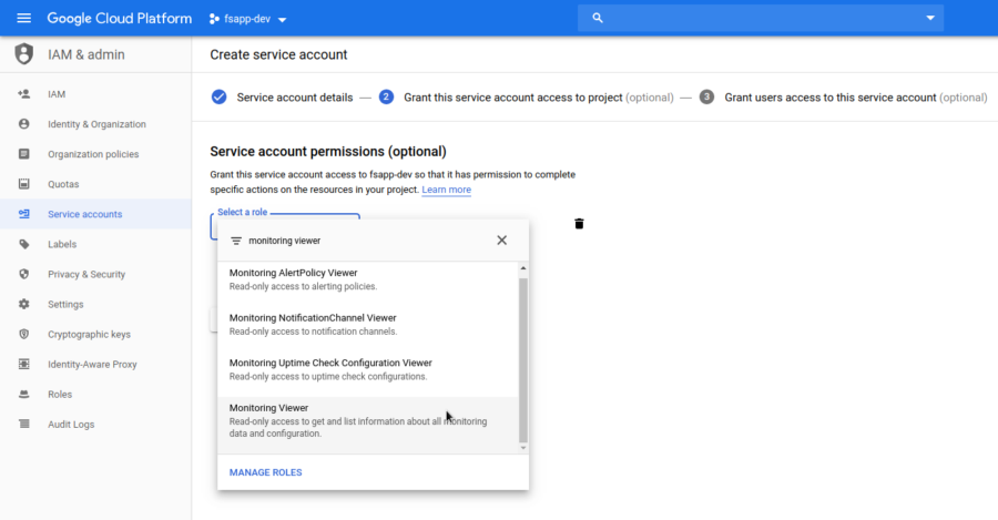 GCP Create Service Account Step 2