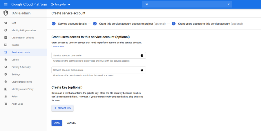 GCP Create Service Account Step 3
