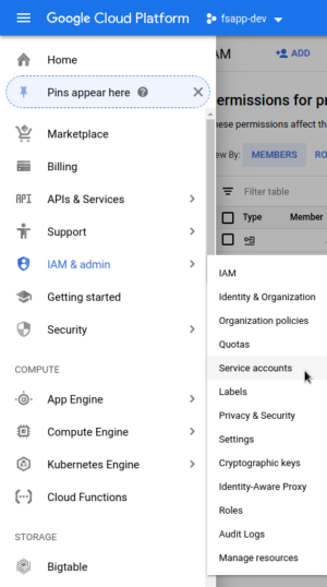 GCP Service Account Menu