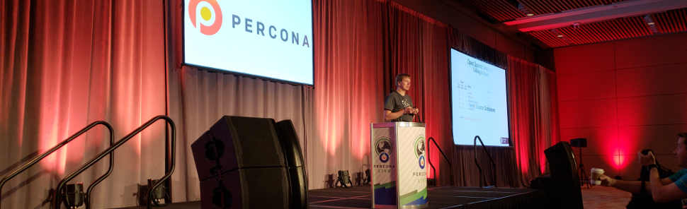Peter Zaitsev, founder and CEO of Percona, giving his opening keynote at Percona Live 2018